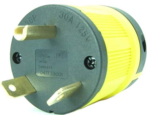 - Journeyman-Pro NEMA TT-30P, 30 Amp, 125 Volt, Straight Blade Male RV Trailer Plug Connector, Black/Yellow Industrial Grade, Grounding 3750 Watts Generator TT30 (TT30P-YELLOW)
