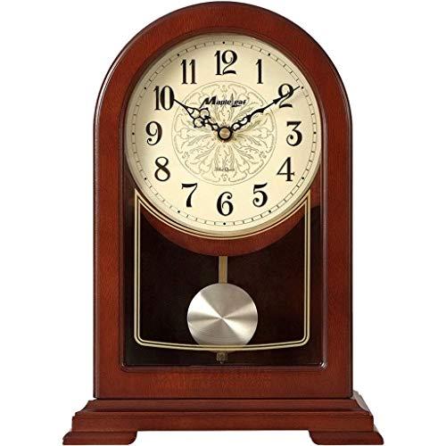 DJY-JY Castanos Reloj de Madera Maciza Mesa de Escritorio en Silencio, Salon Retro decoracion de Escritorio Creativa del Reloj de Estilo Europeo decoracion del hogar (Color: -, Tamano: -)