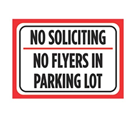 Amazon.com: No Soliciting no Flyers en estacionar, color ...