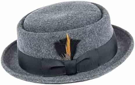 c3cb5c4574a3d Men s Crush-able Wool Felt Porkpie Pork Pie Fedora Hats with Feather DTHE09
