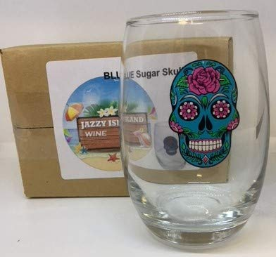 Stemless Wine Glasses Sugar Skull Halloween and Cinco De Mayo Parties, Picnics, Celebrations (Blue)]()