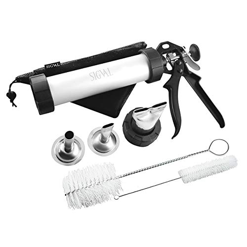 SIGVAL Jerky Gun, 1 Pound Capacity Jerky Maker, Aluminum Barrel, Easy to Clean Handle and Stainless Steel Nozzles