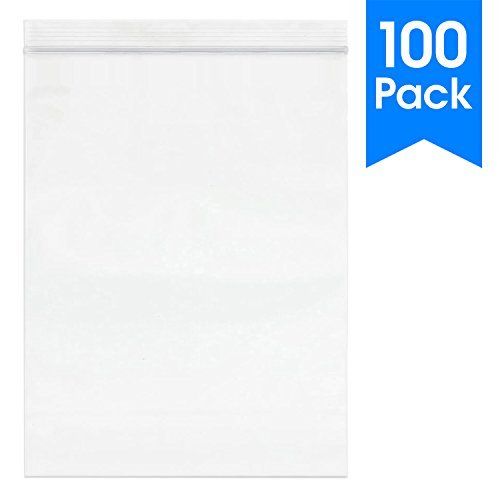 100 Count - 10 X 13, 2 Mil Clear Plastic Reclosable Zip Poly Bags with Resealable Lock Seal Zipper by Spartan Industrial (More Sizes Available)