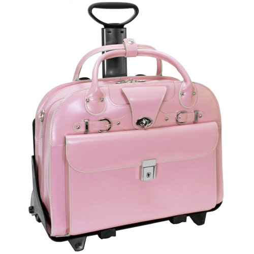 McKleinUSA ROSEVILLE 96649 Pink Leather Fly-Through Checkpoint-Friendly Detachable-Wheeled Ladies' (Pink Leather Briefcase)