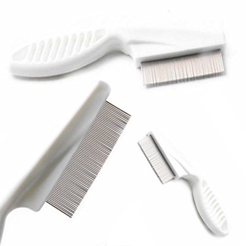 1 Pack Comb Hair Brush Metal Nit Head Lice Fine Toothed Flea Flee with Handle Tools Combo Pocket Long Round Holder Essential Popular Beard Natural Grooming Girl Travel Kit