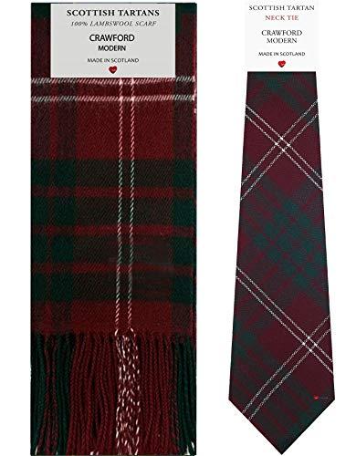 Crawford Modern Tartan Plaid 100% Lambswool Scarf & Tie Gift Set
