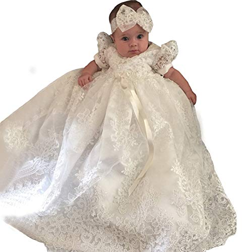 Christening Gown Baby Girl Lace Toddler Dedication Dress for Age 24 -