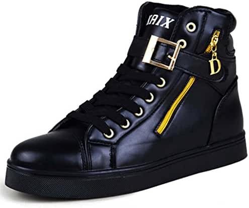 Jiye Men's Sheet Metal Zipper High-Top Shoes Fashion Sneakers