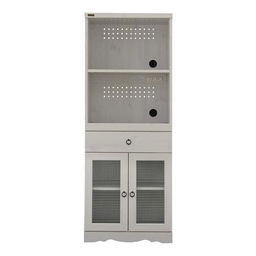 ホワイト/LE BISTRO ル ビストロ レンジ台 キッチン収納 レンジボード 幅60 引出し スライドレール ラック レトロ アンティーク 食器棚 コンセント 木製 木目 ウッド  ホワイト B01K1P3WK8