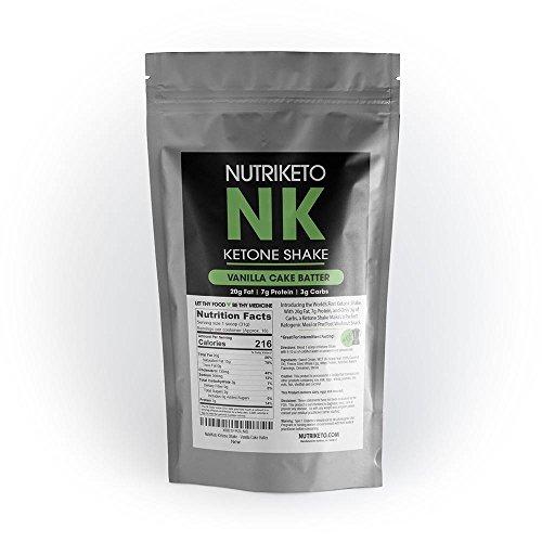 NutriKeto KeTone Shake - Vanilla Cake Batter - Low Carb/High Fat (LCHF) - Ketogenic Diet - 16 Servings