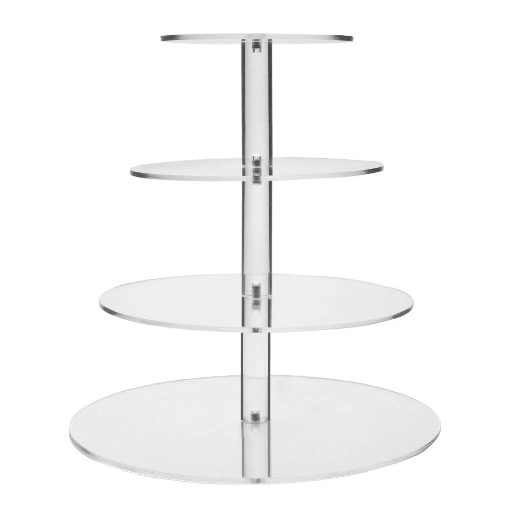 Display4top Clear Acrylic Glass Cupcake Stand For Wedding (4 Tier Round) Pro Display