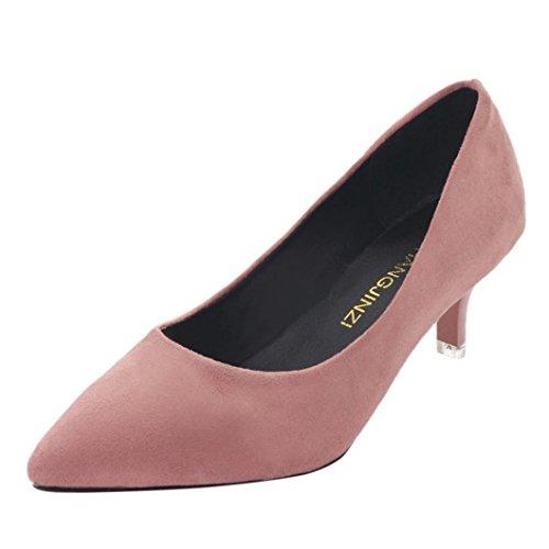 Nu Pieds Soirée Escarpin Chaussures Pointue Aiguille Sexy Haut ESAILQ Femme Stiletto Rose Talon Escarpins wvHzqRB
