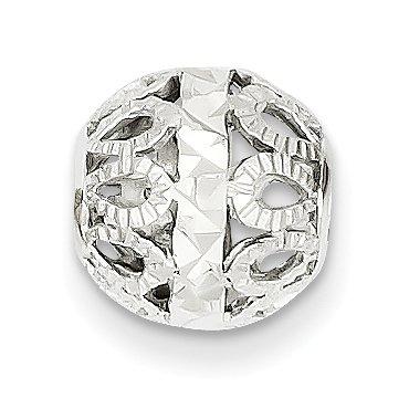 14k White Gold Diamond-cut Filigree Ball Chain Slide ()