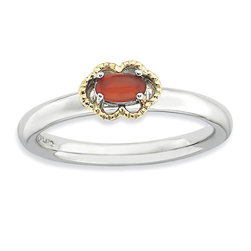 ICE CARATS 925 Sterling Silver 14k Red Agate Band Ring Size 10.00 Stone Stackable Gemstone Natural Fine Jewelry Gift Set For Women (14k Agate Jewelry Set)