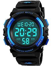 Digital Uhren für Kinder Jungen - 5 ATM Wasserdicht Sports Outdoor Digitaluhren Kinder Silikon Armbanduhr mit Wecker/Stoppuhr/LED-Licht/Stoßfest/Datum,Elektronische Kinderuhren Blau