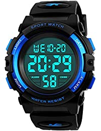 Kids Watch,Boys Watch for 6-15 Year Old Boys,Digital Sport Outdoor Multifunctional Chronograph LED 50 M Waterproof Alarm Calendar Analog Watch for Children with Silicone Band Blue