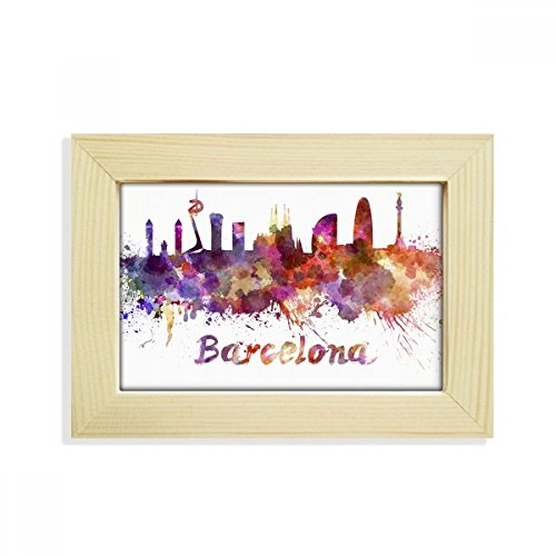 DIYthinker Barcelona Spain City Watercolor Desktop Wooden Photo Frame Picture Art Painting 5x7 inch by DIYthinker