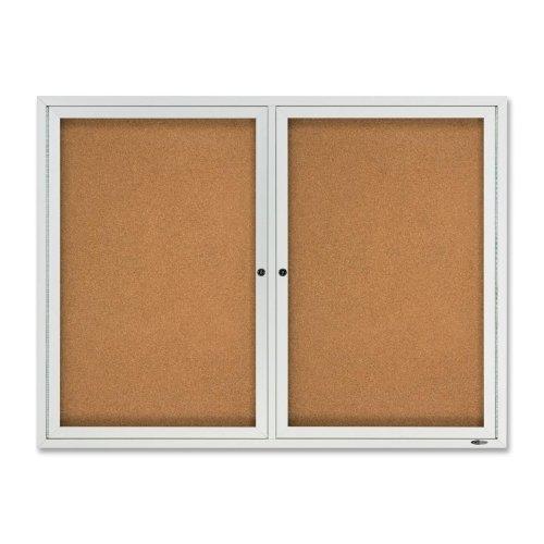"""Quartet Outdoor Bulletin Board - 48"""" Height x 36"""" Width - Cork Surface - Aluminum Frame"""