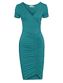 Tom's Ware Womens Fashionable V Neck Short Sleeve Ruched Dress