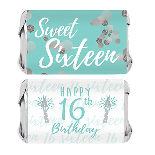 - Sweet Sixteen 16th Birthday Party Mini Candy Bar Wrappers, 45 Stickers (Blue and Silver)