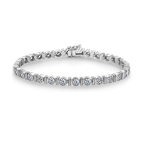- DIAMONBLISS Platinum Clad Clear Cubic Zirconia 100-Facet & Bar Tennis Bracelet- 8