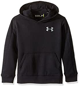Under Armour Boys' Titan Fleece Wordmark Hoodie, Black/Black, Youth X-Small