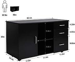 Greensen - Armario archivador lateral con 3 cajones, armario de ...