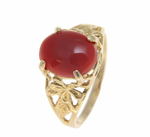 Genuine natural oval cabochon red coral ring Hawaiian plumeria 14k yellow gold size 6