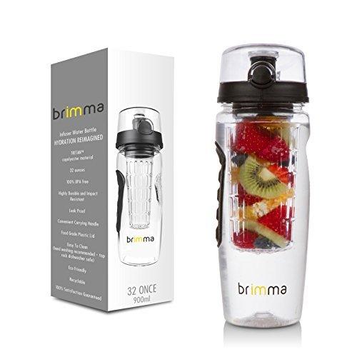 Brimma Leak Proof Fruit Infuser Water Bottle, Large 32 Oz. (For Gifts Women)
