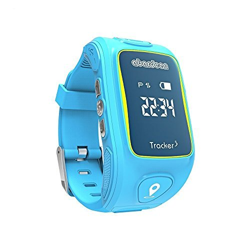 Abardeen KW01T GPS GSM Smart Watch Kids Locator Tracker SOS Call Smartwatch for Boys Girls Support iOS Android (Blue)