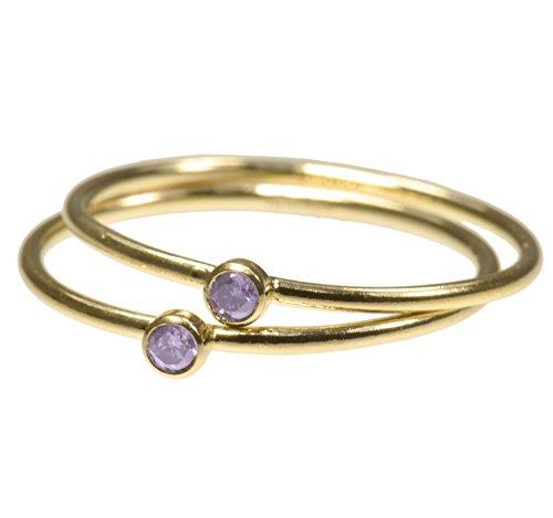 uGems 2 14K Gold Filled Light-Amethyst-Color CZ Stacking Rings Size 6