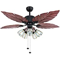 Akronfire Tropical Ceiling Fan 52-Inch Remote Control With 5 Durable&Reversible Blades Mute Fan Chandelier for Home Decoration (Tropical)
