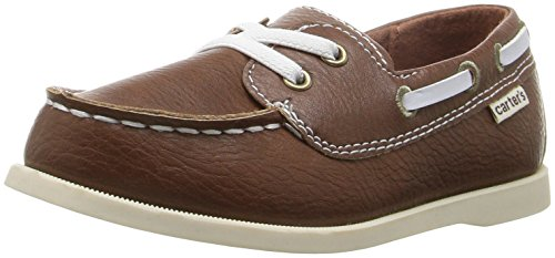 carter's Boys' Ian  Boat Shoe, Dark Brown, 7 M US Toddler Brown Boat Shoe