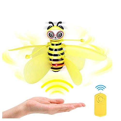 whenear Bee Flying Toys, Hand-Controlled Suspension Helicopter Toy with Remote Control, Infrared Induction Interactive Drone, Indoor Flyer Toys for Kids Teenagers Boys Girls