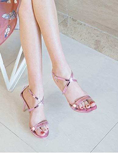 Ouvert Stiletto Sandales Elégant Bout Violet Femme Bride Aisun Cheville wq067xIanE