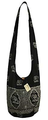 "Lovely Creations's Hippie Boho New Elephant Crossbody Bohemian Gypsy Sling Shoulder Bag""Medium"" Size Black Size: Medium"