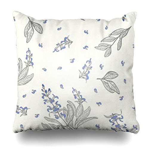 (HomeOutlet Throw Pillow Cover Medicine Blue Leaf Sage Salvia Officinalis Ayurveda Pattern Botany Care Drawn Hand Pillowcase Square Size 18 x 18 Inches Home Decor Sofa Cushion Case)