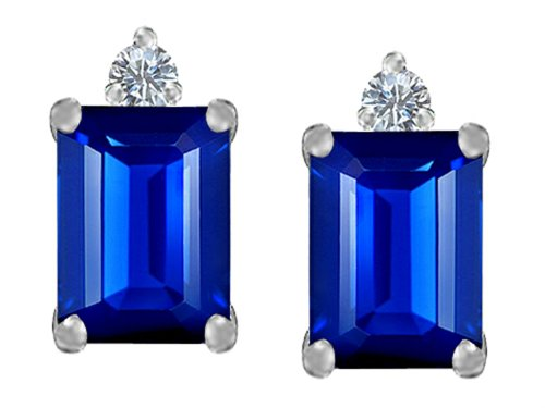 Emerald Cut Blue Sapphire (Star K 8x6mm Emerald Octagon Cut Created Sapphire Earrings Studs Sterling)