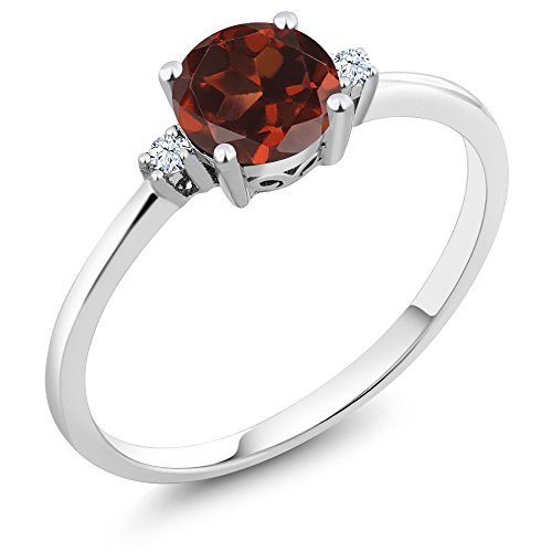 Red Gold Sapphire Ring - Gem Stone King 10K White Gold Red Garnet and White Created Sapphires Women's Engagement Solitaire Ring (1.03 Ct Round Available in size 5, 6, 7, 8, 9)