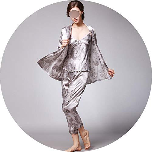 Luxury Paisley Pattern Kimono Robes Men's Silk Satin Nightgown Women Bathrobe Sleepwear,Women Gray Set,XXL
