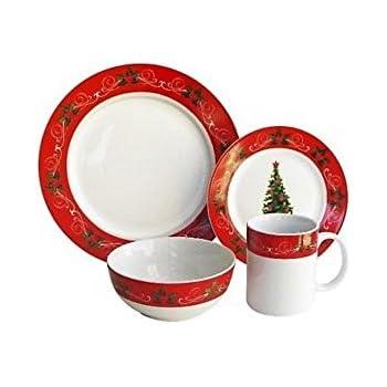 american atelier v22816 classic christmas dinnerware set red
