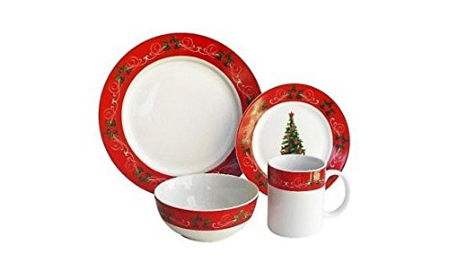 American Atelier V228-16-SET Classic Christmas Holiday 16 Piece Dinnerware Set, 10.25x10.25, Red