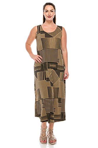 Jostar Women's Stretchy Long Tank Dress Print X-Large Taupe Stripes