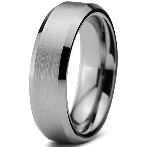 Charming Jewelers Tungsten Wedding Band Ring Grey 6mm Men Women Comfort Fit Grey Bevel Edge Brushed Polished Size -