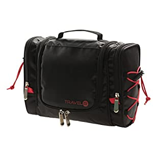 Hanging Toiletry Bag for Men Women - Multiple Pockets & Bungees - Sturdy 360° Metal Hook - Travel Black Makeup Cosmetic Bags - Large Bathroom Organizer Kit - Gym Toiletries Kits for Shower Accessories