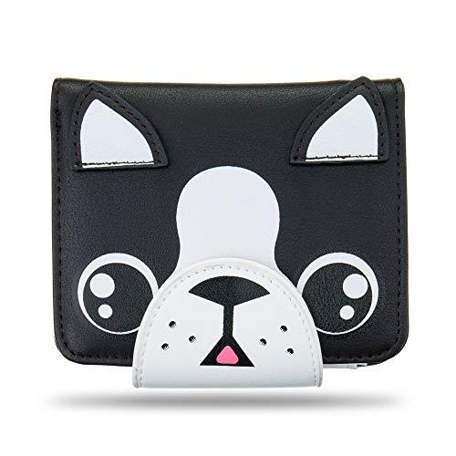 (Ava & Kings PU Leather Animal Face Clutch Wallet Zipper Boston Terrior Dog)