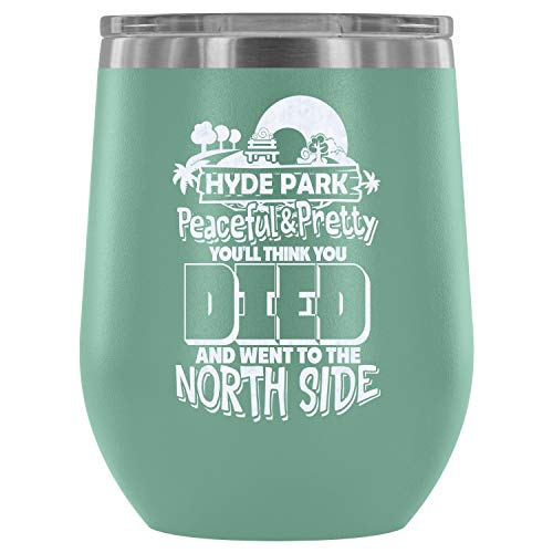 Steel Stemless Wine Glass Tumbler, Went To The North Side Vacuum Insulated Wine Tumbler, Hyde Park Wine Tumbler (Wine Tumbler 12Oz - Teal) ()
