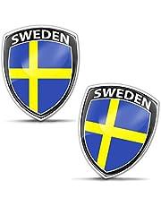 Biomar Labs® 2 x 3D välvd silikonbricka klistermärken dekal emblem bil motorcykelhjälm Sverige svenska nationella flaggan F 154