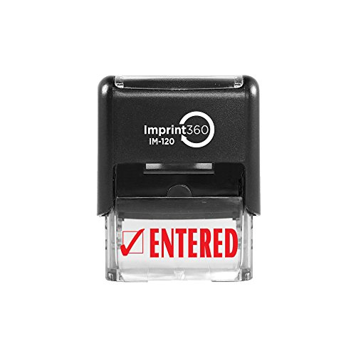 Laser Imprint - Imprint 360 AS-IMP1021 - ENTERED w/Check Mark, Heavy Duty Commerical Quality Self-Inking Rubber Stamp, Red Ink, 9/16