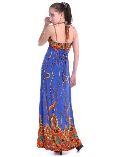 M gegen blauen Mehrfarbig inspirierte Kleid Anna marokkanisch S Bänder Fit Kaci afw7EqS